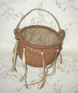 Antique Hand Crafted Native Indian Fabric Lined Basket With Handles And Beads