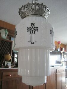 Vintage Antique Art Deco Skyscraper Chain Pendent Shade Chandelier Light Fixture