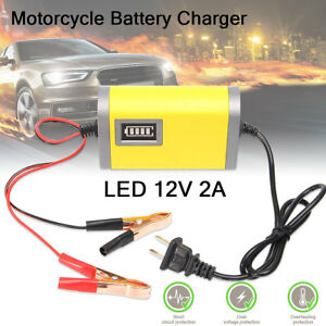 220v 50 60hz Car Motorcycle Smart Automatic Battery Charger Maintainer 2a 12v