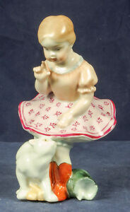 Hungary Herend Girl With Cat Porcelain Figurin Handpainted Vintage Mint