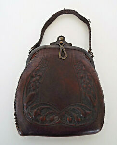 Antique Justin Leather Goods Purse Art Deco Nouveau Tooled Embossed Victorian