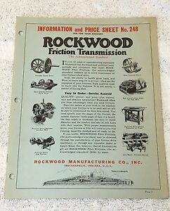 Saw Mill Rockwood Friction Transmission Catalog