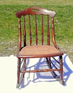 Antique Victorian Maple Sewing Rocking Chair With Cane Seat Circa 1890