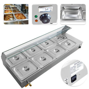 110v 1 7kw 8 pan Bain Marie Food Warmer 48l Buffet Steam Commercial Countertop