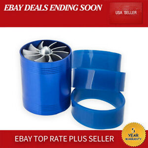 Aluminum Alloy Air Intake Turbonator Double Fan Turbine Turbo Gas Fuel Saver Blu