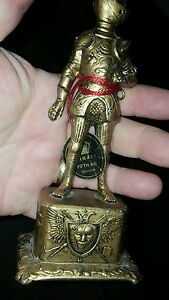 Vintage Metal Knight Statue W Original Arnart Fifth Ave Tag Made In Japan Look