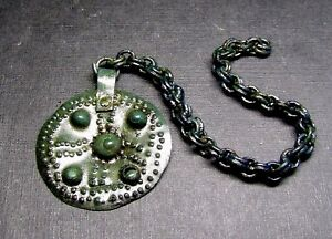Ancient Bronze Viking Big Pendant Amulet Chain