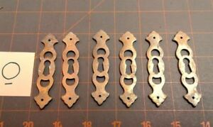 6 Brass Key Hole Escutcheon Covers Vertical Vintage