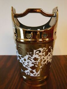 Japanese Porcelain Handled Water Bucket Ornate Lots Of Gold Flowers