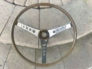 Vintage Woodgrain Steering Wheel 3 Spoke Mopar Ford Gm Chevy Hippy Van C10 Truck