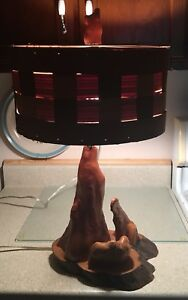 Mid Century Modern Cyprus Root Wood Lamp W Shade Electric