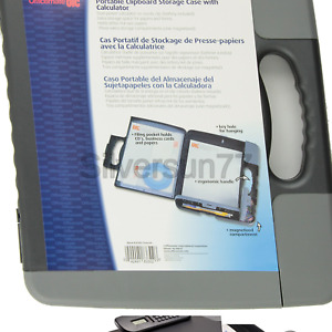 Officemate Portable Clipboard Storage Case With Calculator Charcoal 83302