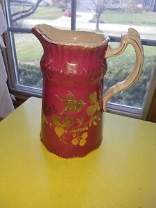 Antique Fuchscia Pink And Golden Bird Large Ironstone Pitcher