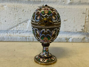 Antique Russian Silver Enamel Gilt Wash Egg Form Box Floral Dec W Maker S Mark