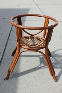 Vintage Mcm Thonet Bentwood Rattan Dining Table Base Only