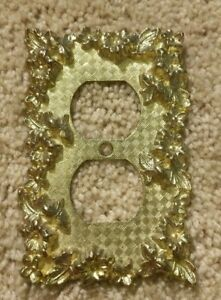 Vintage American Tack Howe 1968 75d Gold Tone 3d Floral Outlet Plate Cover