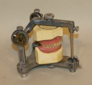 Vintage Hanau Buffalo Ny Dental Articulator W Dentures Teeth Condylar Steampunk