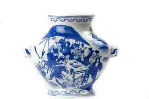 Chinese Wall Vase Blue White Foo Dogs Handles Kangxi Style C 1940 Hand Painted