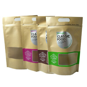 Stand Up Kraft Paper Tote Zipper Bag Food Pack Pouch With Clear Window