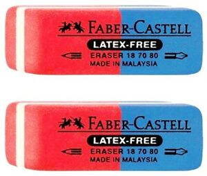 Faber castell Blue Red Latex Free Eraser Art 187080 For Pencil Pen 2pcs
