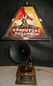 Phonograph Lamp Antique Glass Hand Painted Shade Bar Den Gramophone Brass