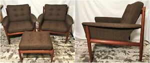 Vtg Set Grete Jalk Easy Lounge Chairs Mid Century Modern Danish Teak 1960s 118