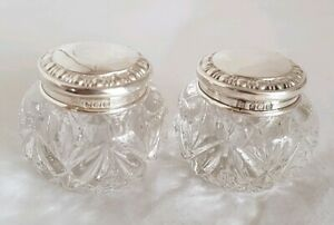 George V Glass Dressing Table Vanity Jars Sterling Silver Mounts Birmingham 1911