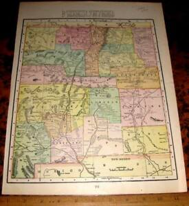 2 Sided Color Map Arizona New Mexico Territory Cram 1899 Indians Diamond Fields