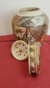 Japanese Meiji Period Satsuma Pottery Tea Caddy Ginger Jar With Original Insert