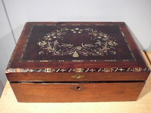 Antique Wood Folding Travel Writing Lap Desk Document Box Mother Of Pearl Inlay