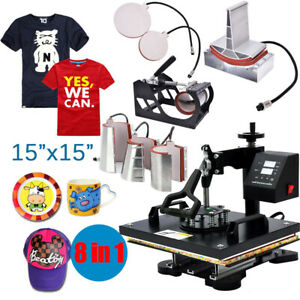 8 In 1 15 x15 Heat Press Machine For T shirts Combo Kit Sublimation Swing Away