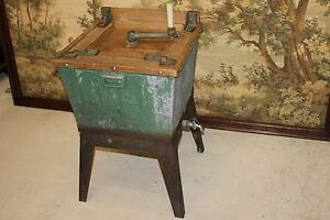 Antique Wooden Hand Crank Manual Gas Heating Washing Machine With Wringer