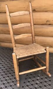 Childs Early Rocking Chair All Original Primitive Shakers Tapered Beautiful