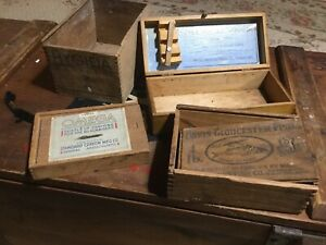 Lot 4 Old Wood Advertising Boxes Hygieia Omega Chalk Davis Gloucester Fish