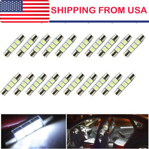 20x White 31mm 3 Smd 6641 Fuse Car Led Sun Visor Vanity Mirror Light Bulbs Us