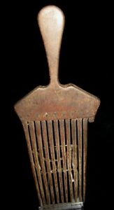 Old Rare Wooden Haircomb W Shellinlay S Solomon Islands