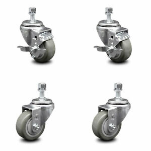 Poly Swvl Ts Caster Set Of 4 W 3 5 Gray Wheels And 1 2 Stems 2 W brake