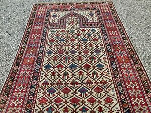Fine Early Antique Shirvan Ivory Field Caucasian Prayer Rug Estate Find