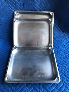 Lot Of 7 Vollrath Super Pan Ii Stainless Steel 12 5 X 10 25 Dimpled Corners