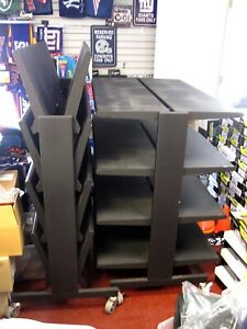 Folding Gondola Shelving W Wheels Commercial Business Retail Black Metal Shelves