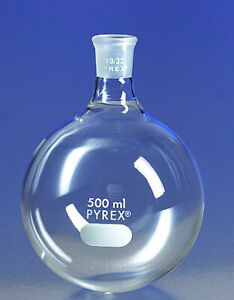 New Pyrex 4320b 500ml Round Bottom Boiling Flask Short Neck 19 22 st Joint