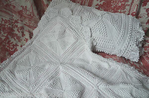Antique French Hand Made Cotton Knitted Bed Cover Matching Pillow Case 85 X 74
