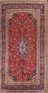 One Of A Kind Traditional Floral Persian Hand Knotted 8x13 Red Wool Area Rug