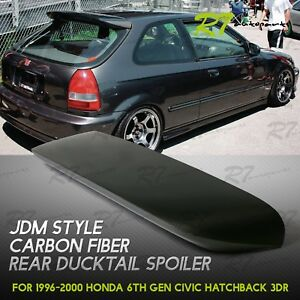 For 96 00 Honda Civic 3 dr Hatchback Carbon Fiber Trunk Top Spoon Spoiler Wing