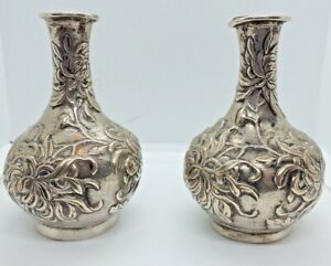 Pair Antique Chinese Export Silver Vase With Chrysanthemums Luen Wo C1900