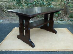 Rare Antique Arts And Crafts Mission Oak Stickley Trestle Library Table