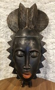 Antique African Tribal Mask Baule Yaoure Dan Carved Ivory Coast Cote D Ivoire