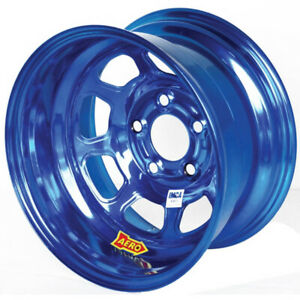 Aero Race Wheels 52 series 15x8 2in Bs 5x4 75 Steel Blue Chrome