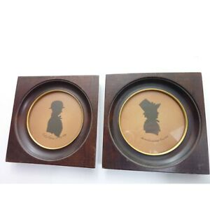 Vintage Pair Of Children S Silhouette Dated 1859 Wood Frame