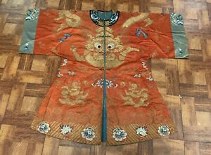 Very Fine Antique Chinese Silk Red Dragon Robe Of Special Rank Qing Embroidery